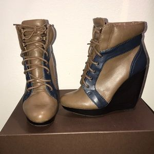 Leather Zara wedge booties.
